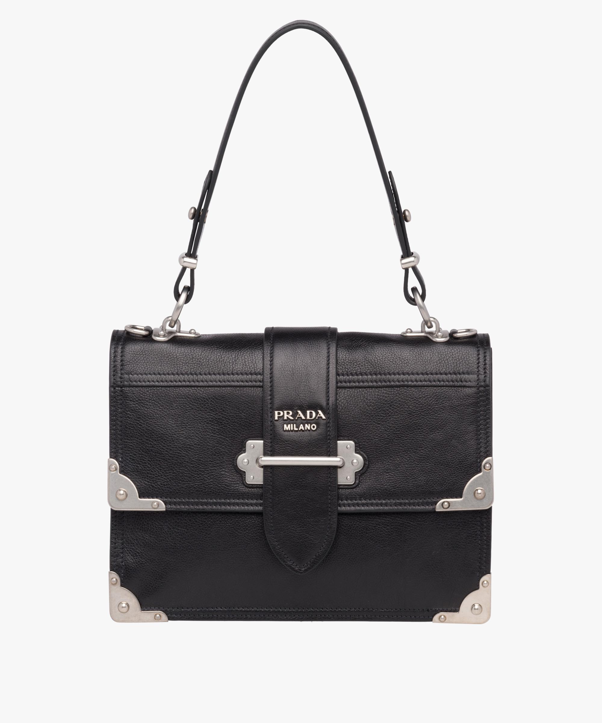 3130dfad8a094d Prada Cahier Printed Leather Handbag in Black - Lyst