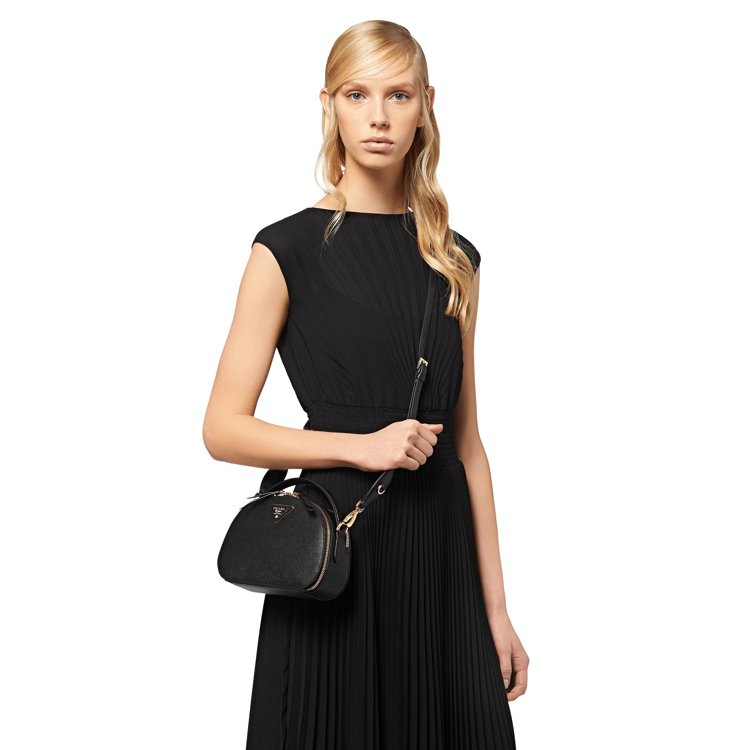 e95b6e0da Prada Odette Saffiano Leather Bag in Black - Lyst