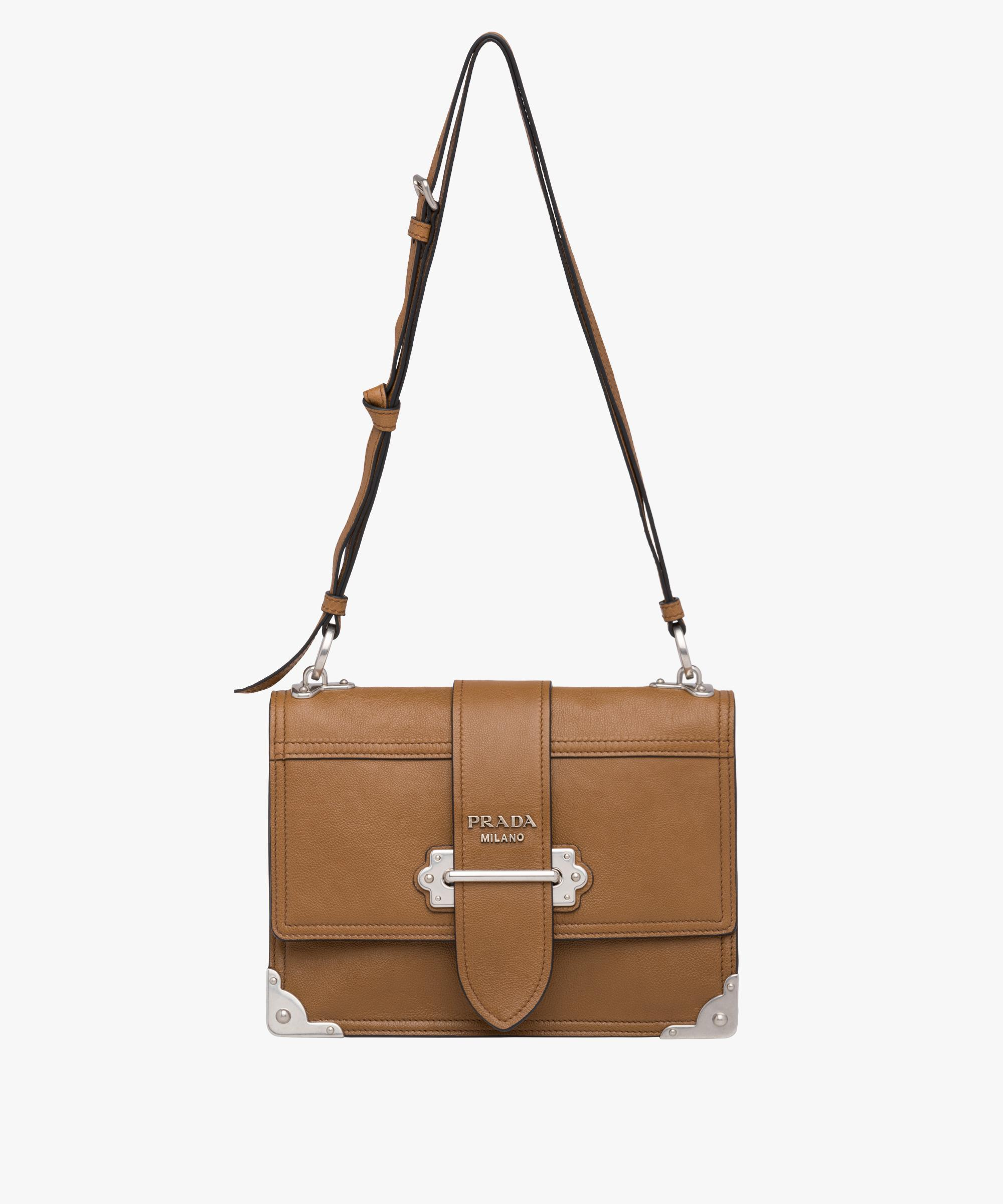 e46db79e4211 ... uk lyst prada cahier leather shoulder bag in brown ac777 a82ad