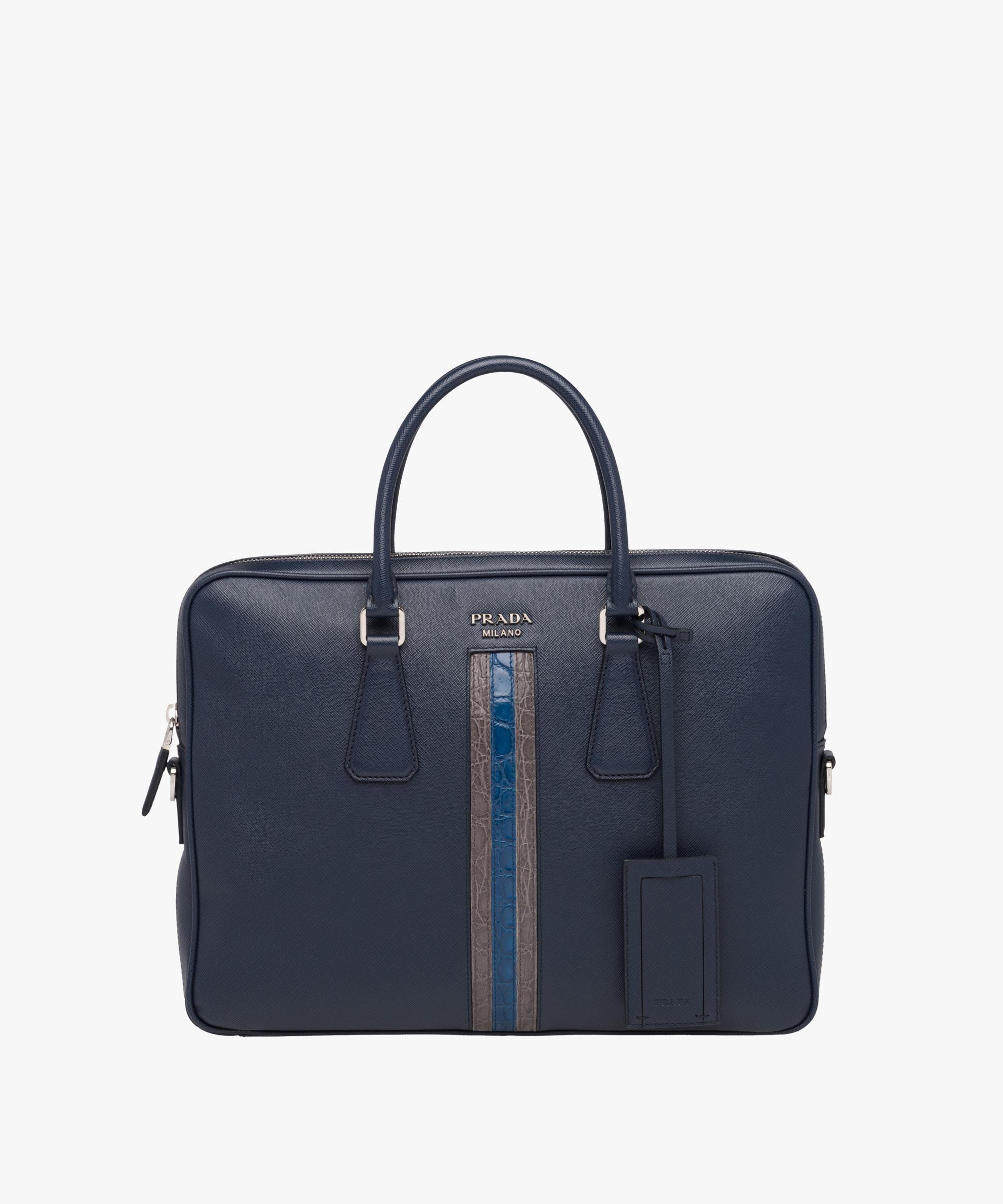 d810af9a Prada Blue Saffiano Leather Work Bag for men