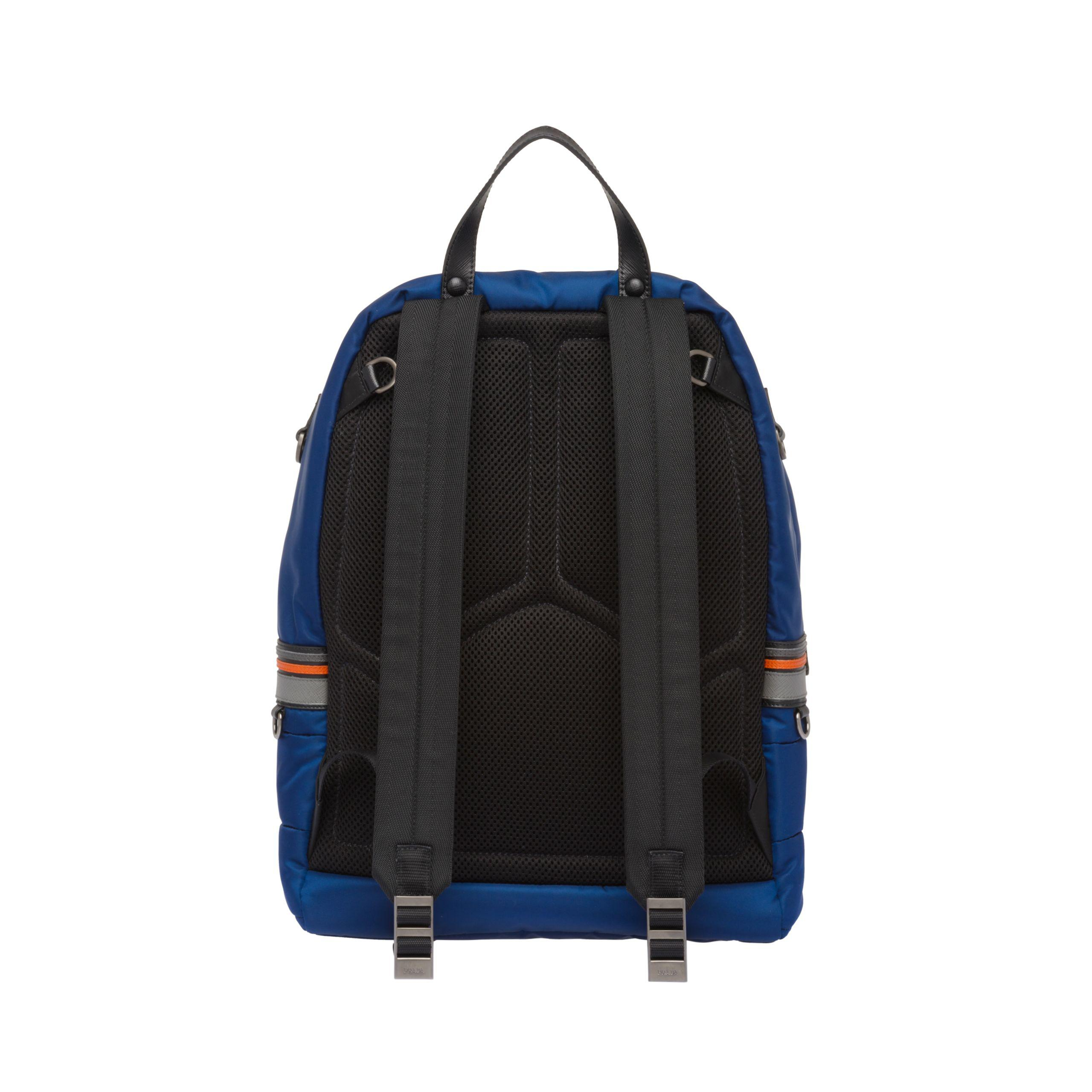 b28aea817610 ... black eb60f 0be54; switzerland prada blue nylon and saffiano leather  backpack for men lyst. view fullscreen 10df0 5754b