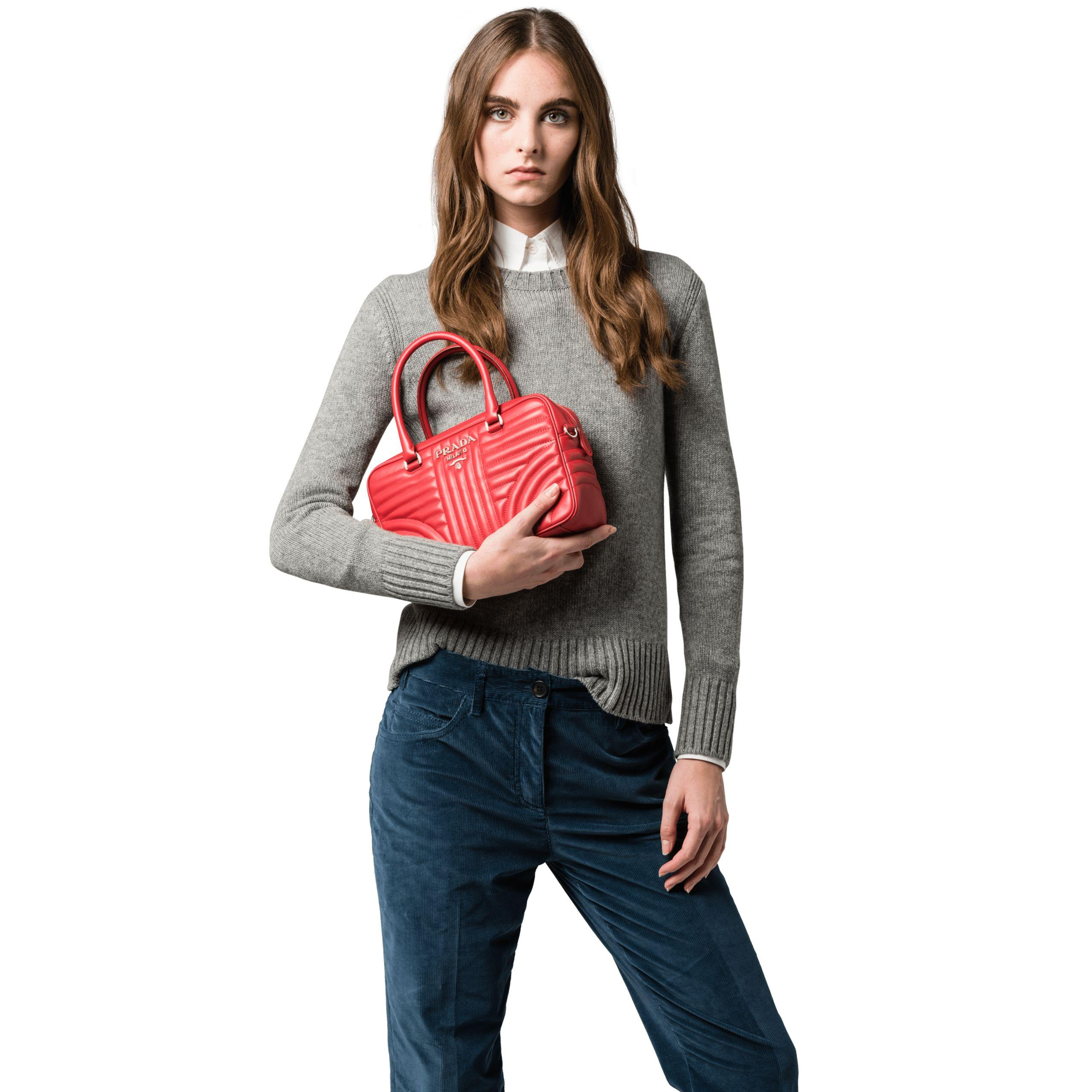 abb8739d4205c Lyst - Prada Diagramme Leather Handbag in Red