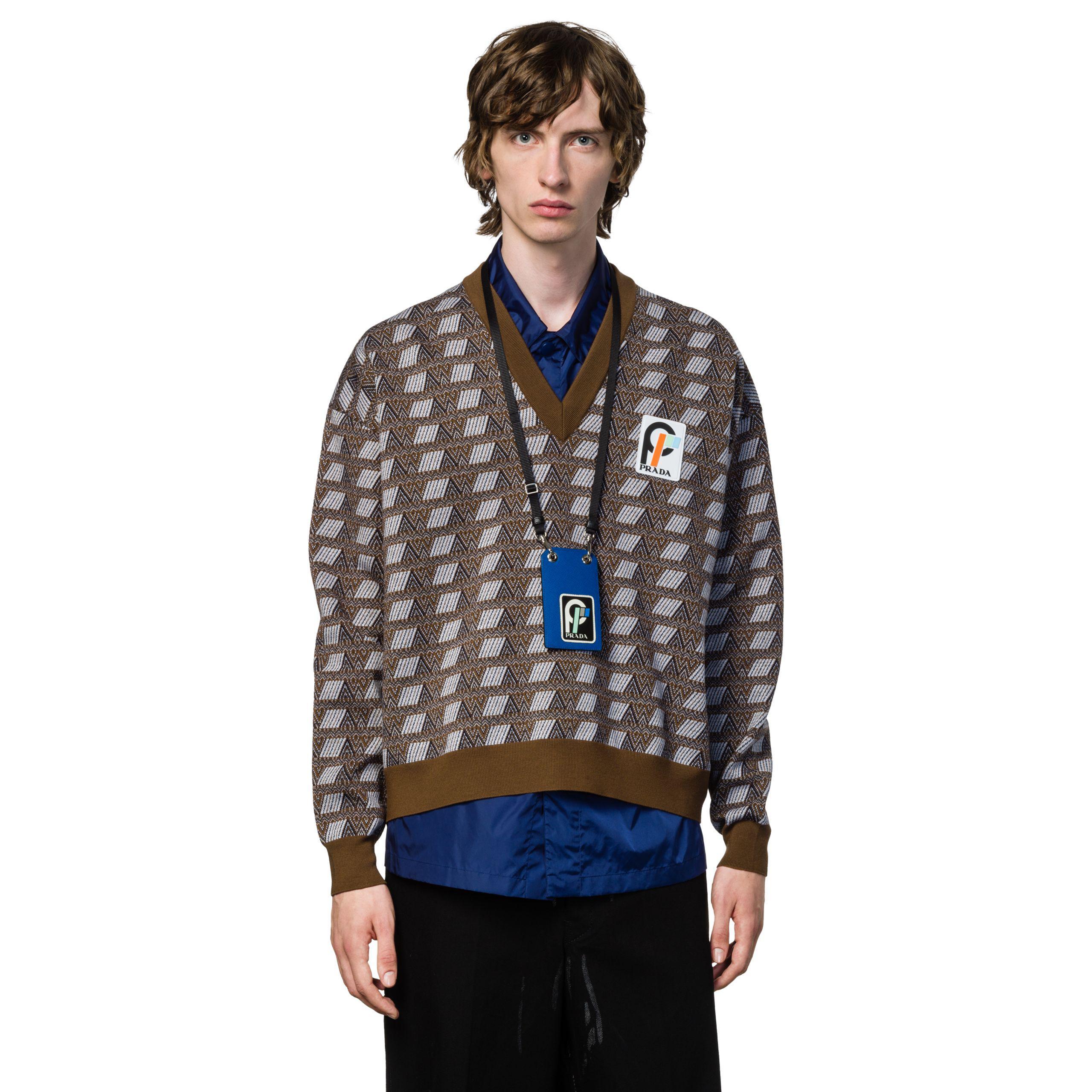 618479d9d3 Prada Blue Saffiano Leather Badge Holder for men