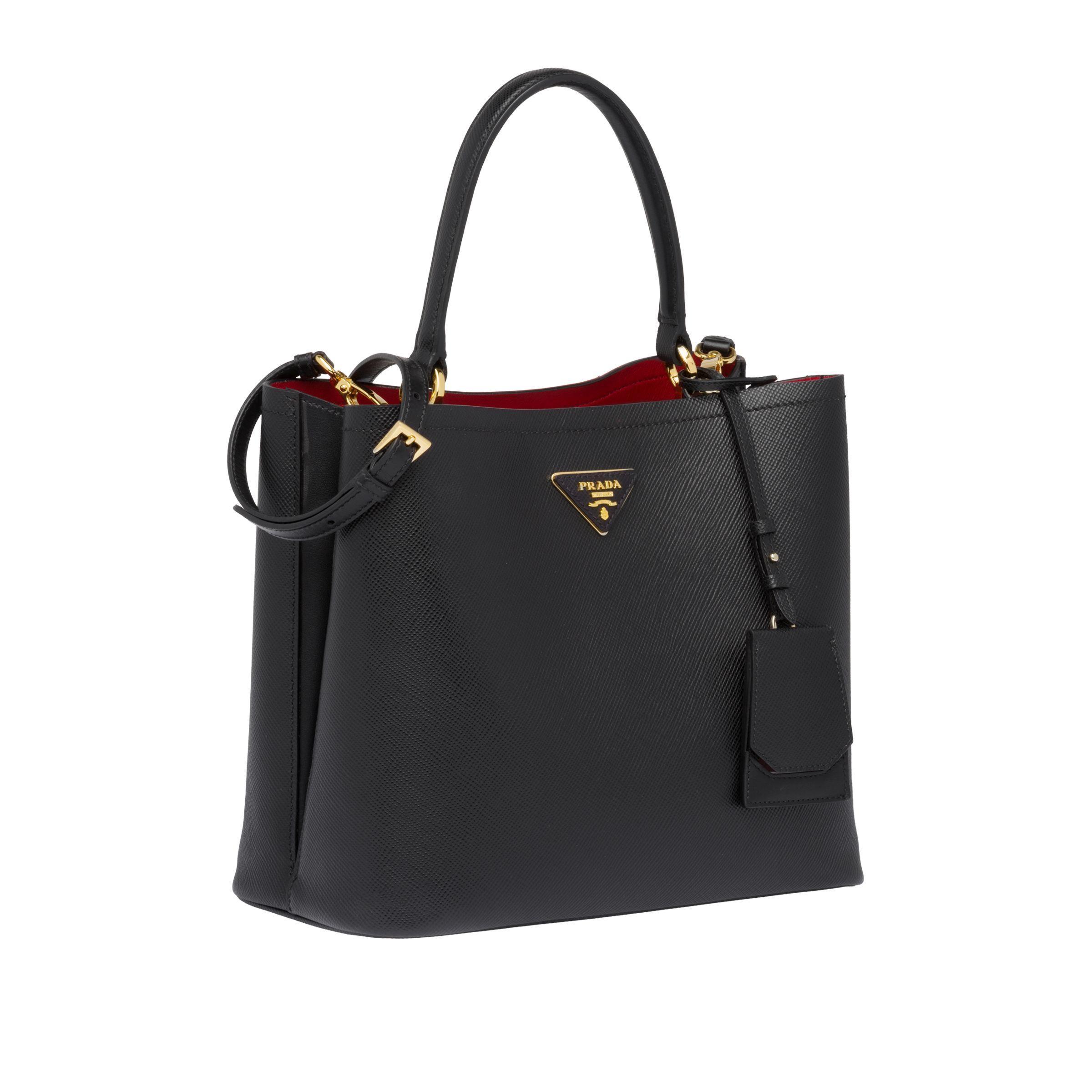 Prada Panier Saffiano Leather Bag In