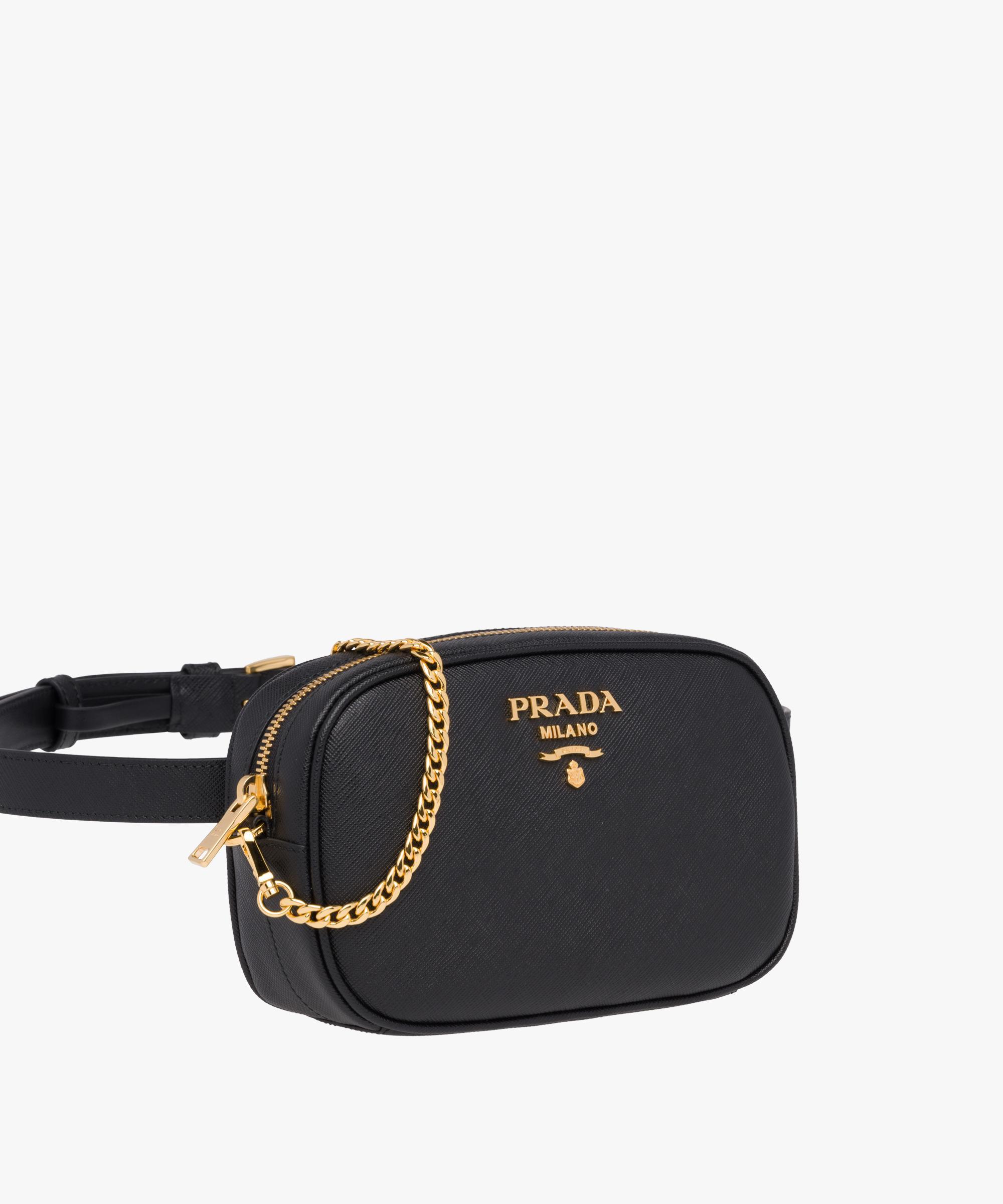 50ac6dddf0 Lyst - Prada Saffiano Leather Belt Bag in Black