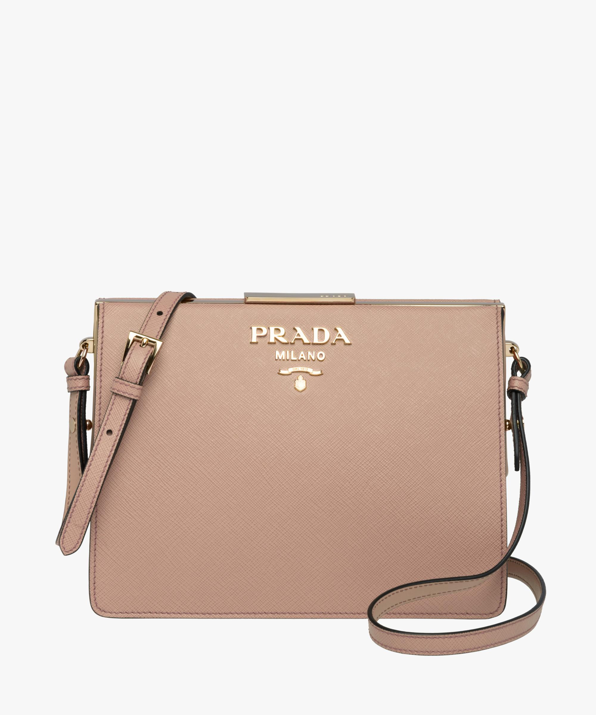 6461d989b29e Lyst - Prada Light Frame Saffiano Leather Bag in Natural