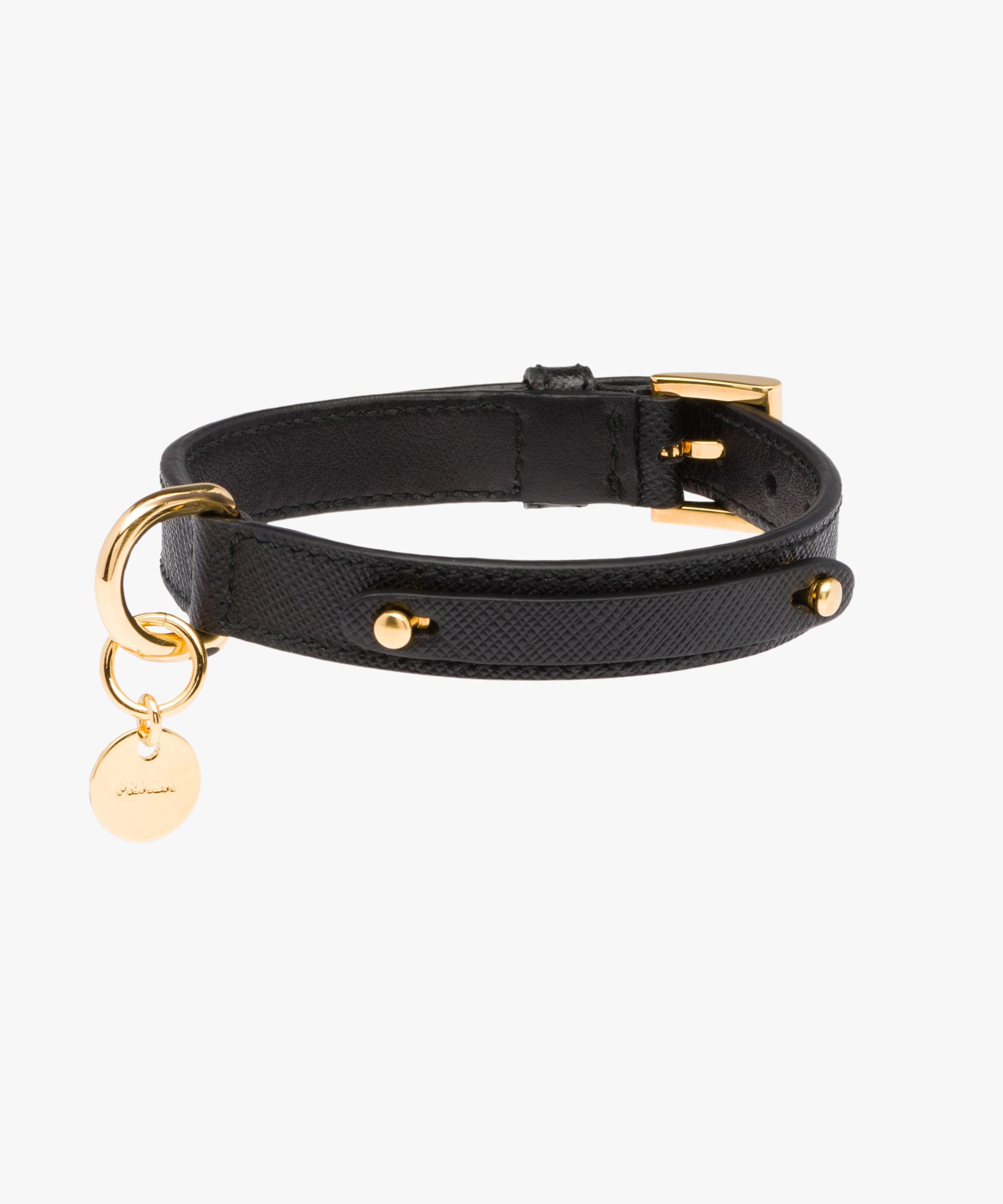 abc869d7aa5a1 Prada Black Saffiano Leather Dog Collar