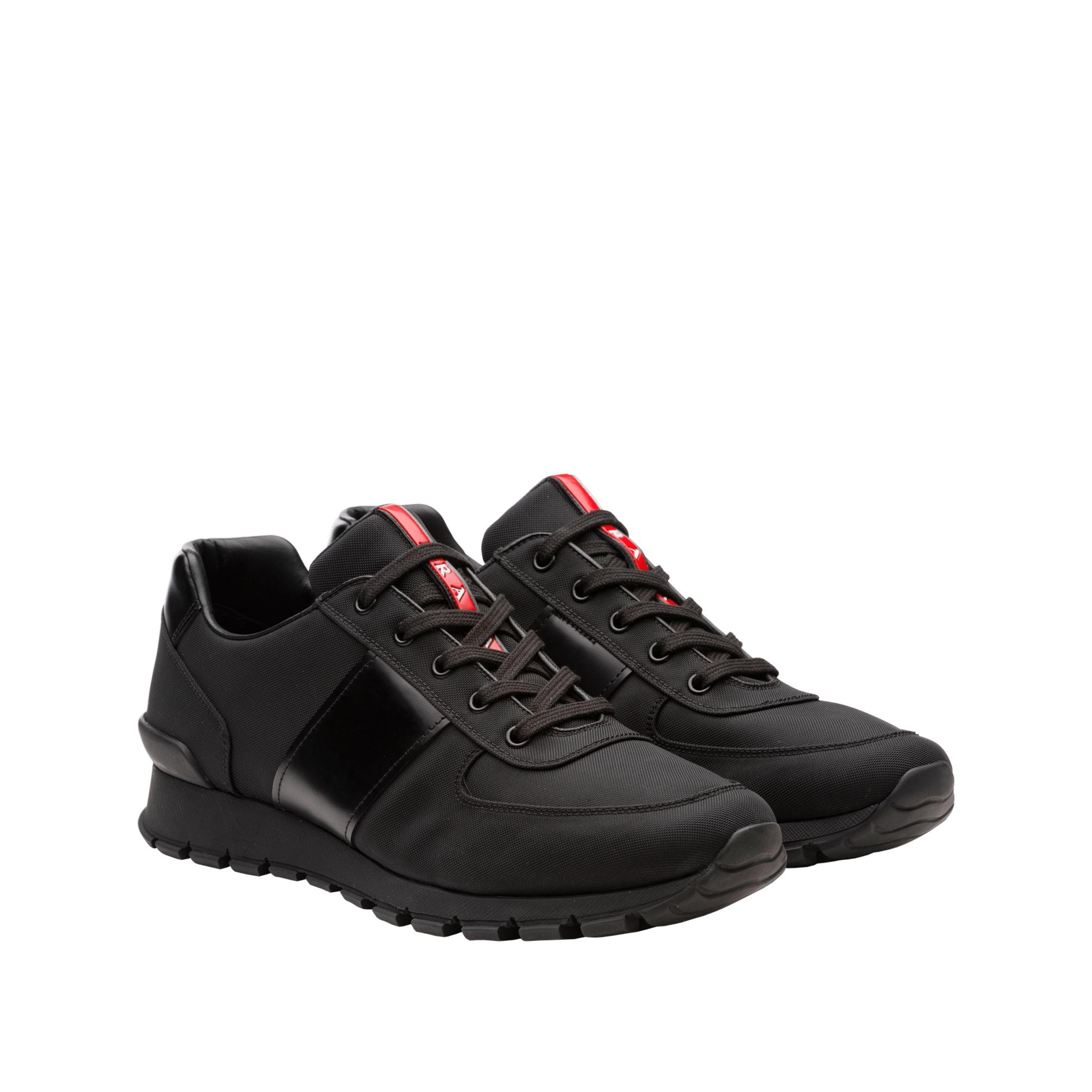 Prada Fabric And Leather Sneakers in