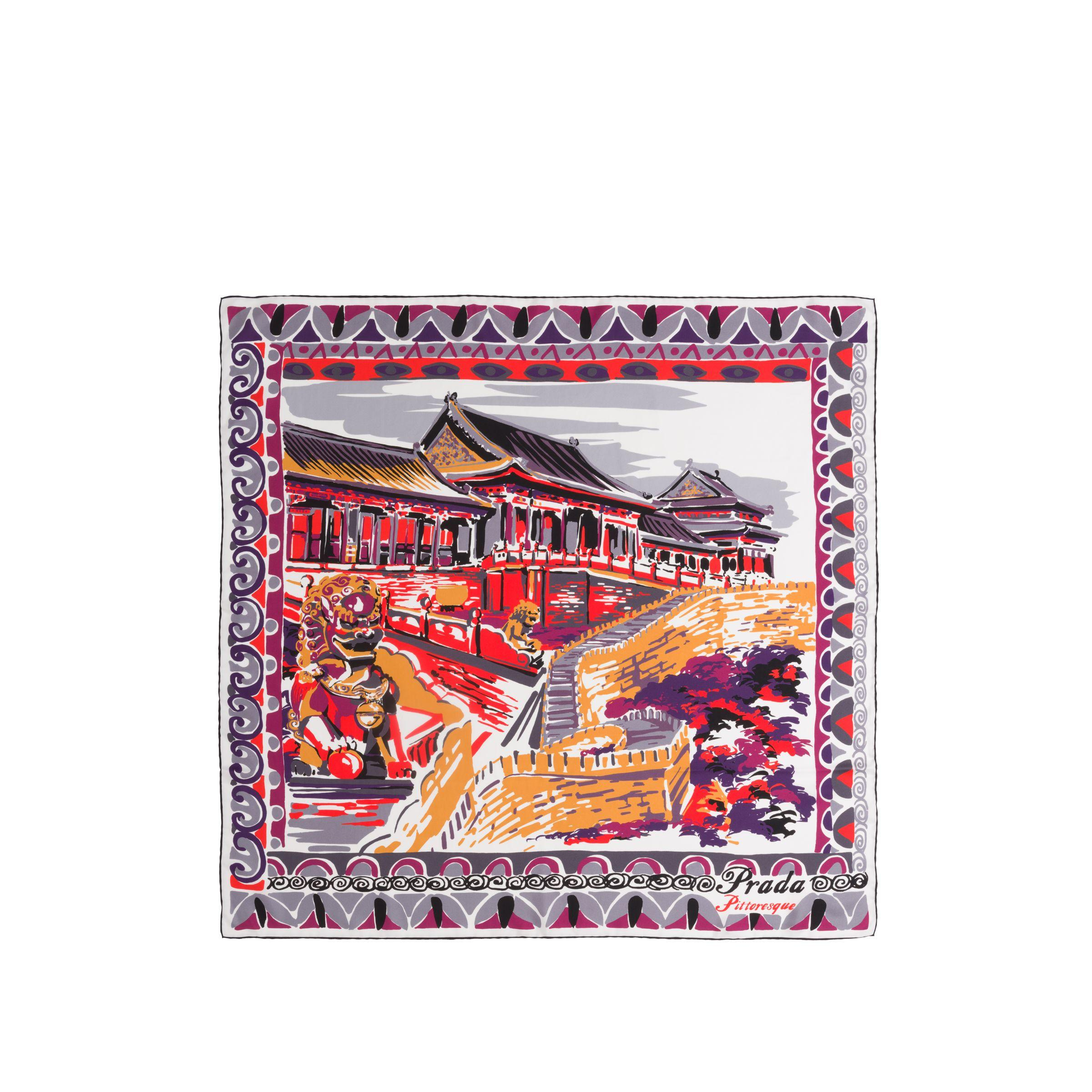 0002ada2c1 Lyst - Prada Pittoresque Beijing Printed 90 Silk Foulard in Purple