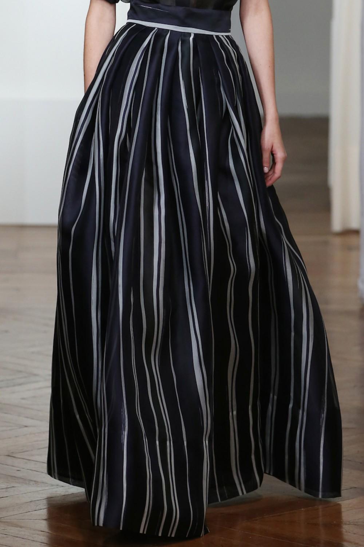 martin grant striped pleated skirt in black lyst