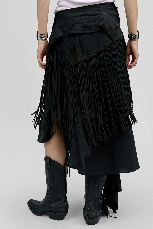 Faith Connexion Long Crepe De Chine Fringe Shirt Skirt In