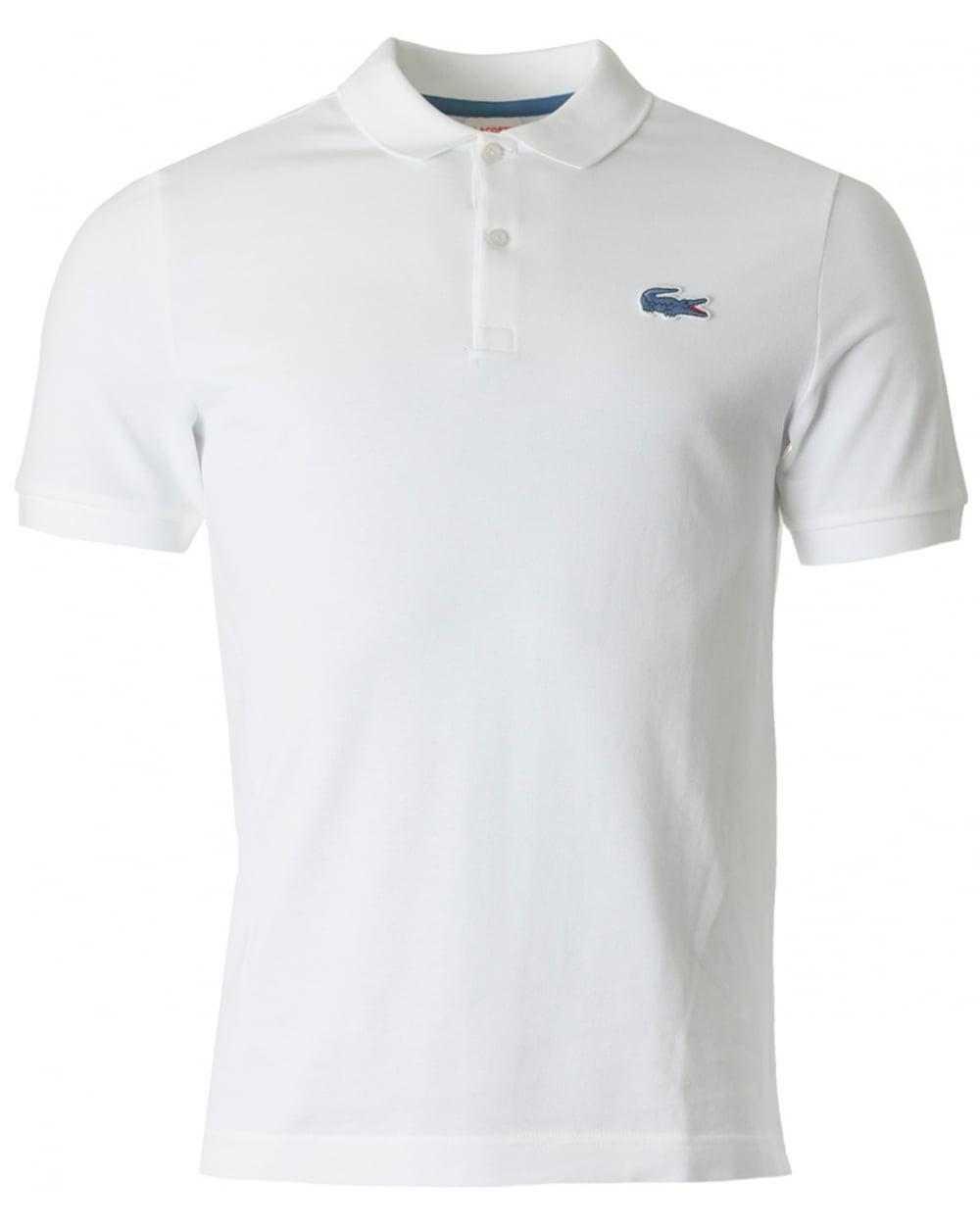 Lacoste L Ive Short Sleeved Big Croc Pique Polo In White For Men Lyst