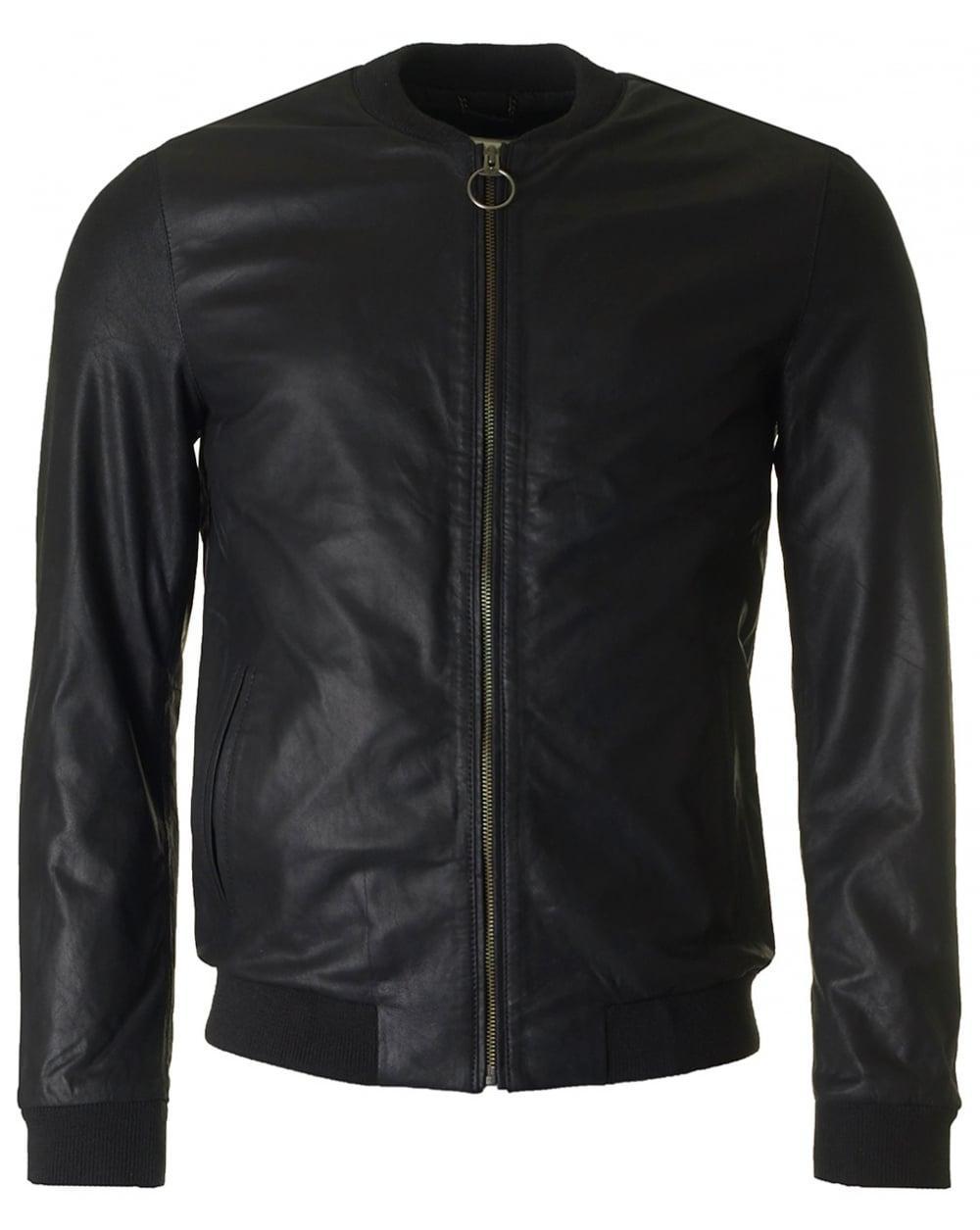 Henley leather jacket