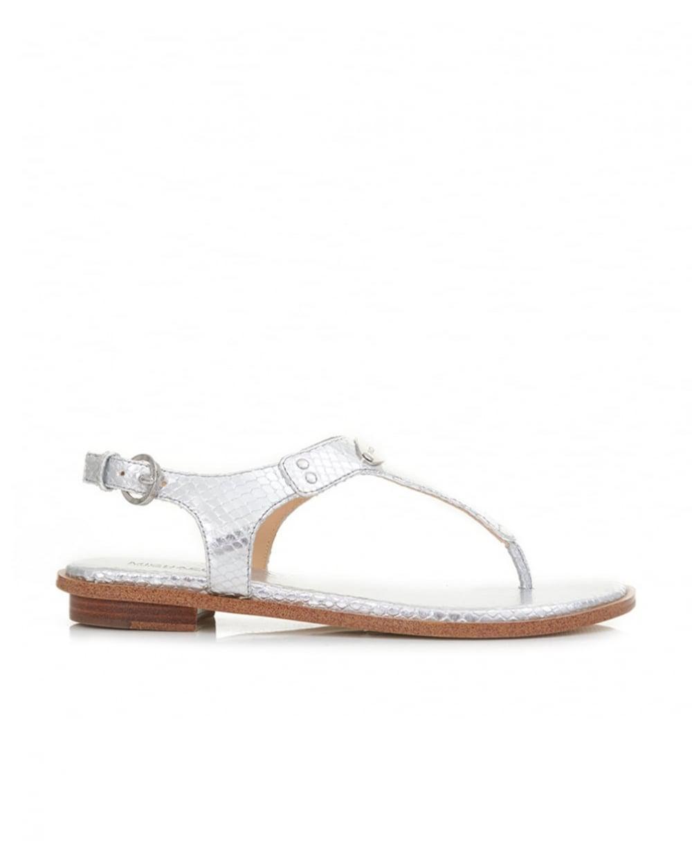 9c53a6b5686 Michael Kors Mk Plate Metallic Sandals in Metallic - Lyst