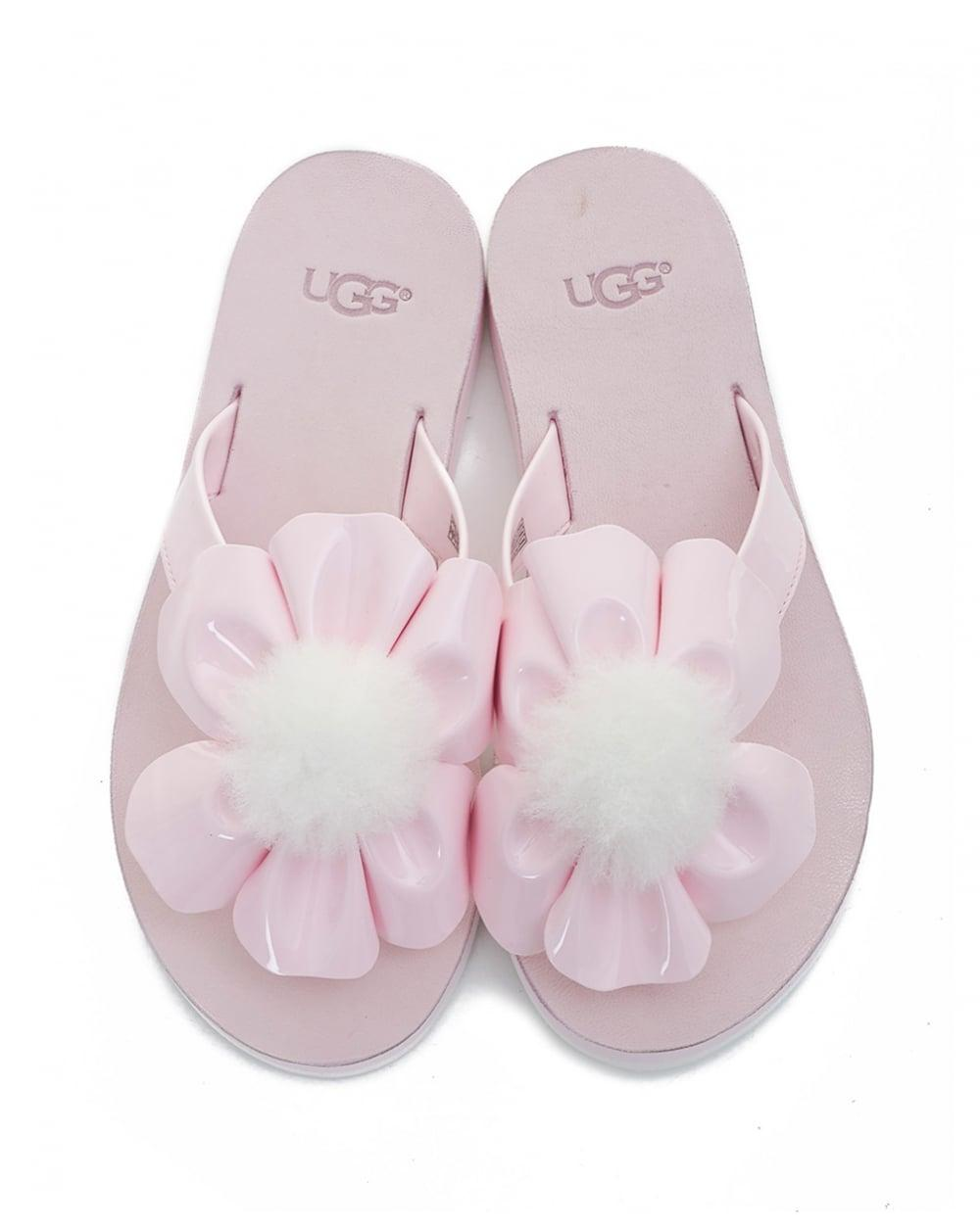 81ef74b3928 Ugg Pink Poppy Flower Flip Flops