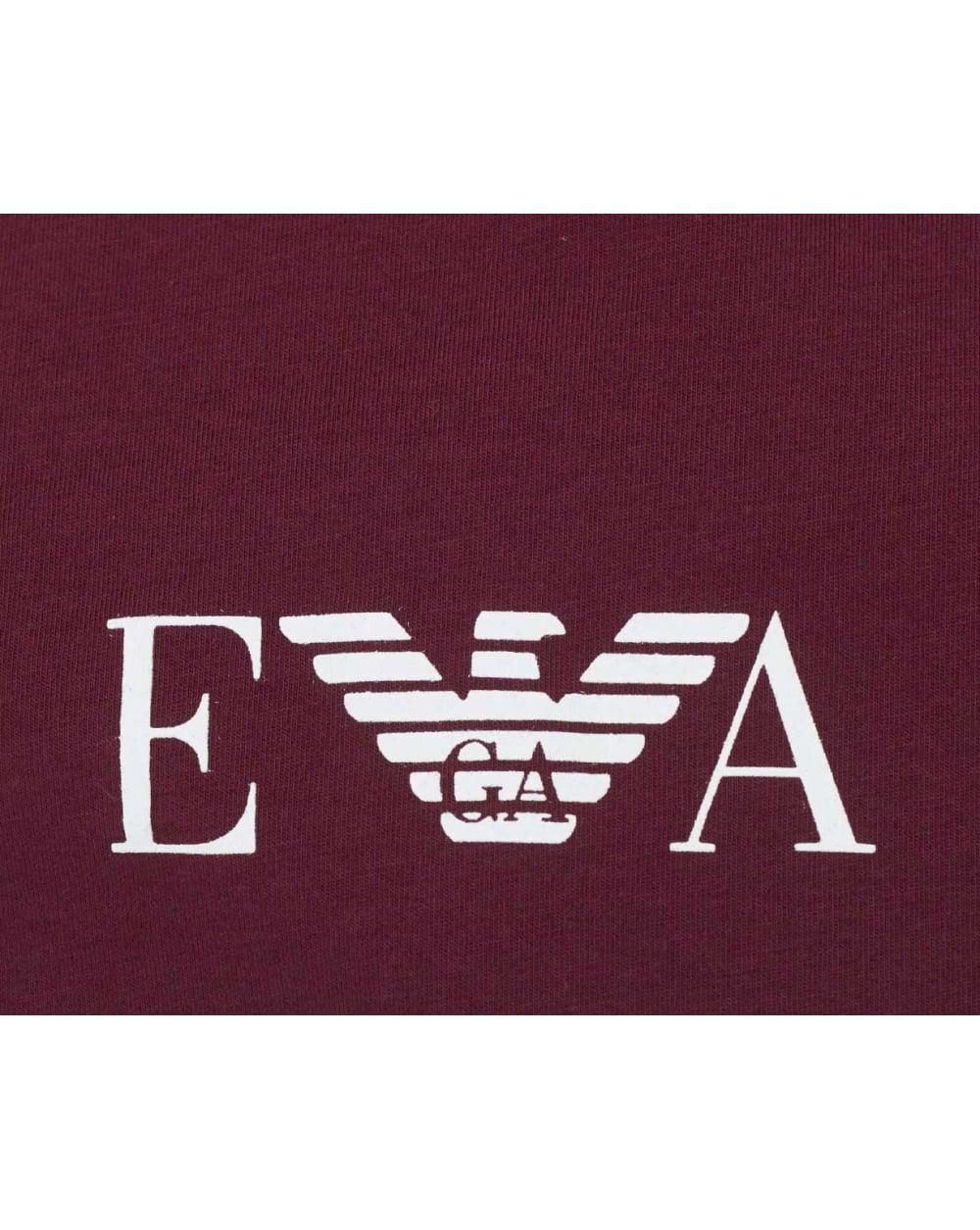 Emporio armani ea centre logo crew neck in purple for men - Emporio giorgio armani logo ...