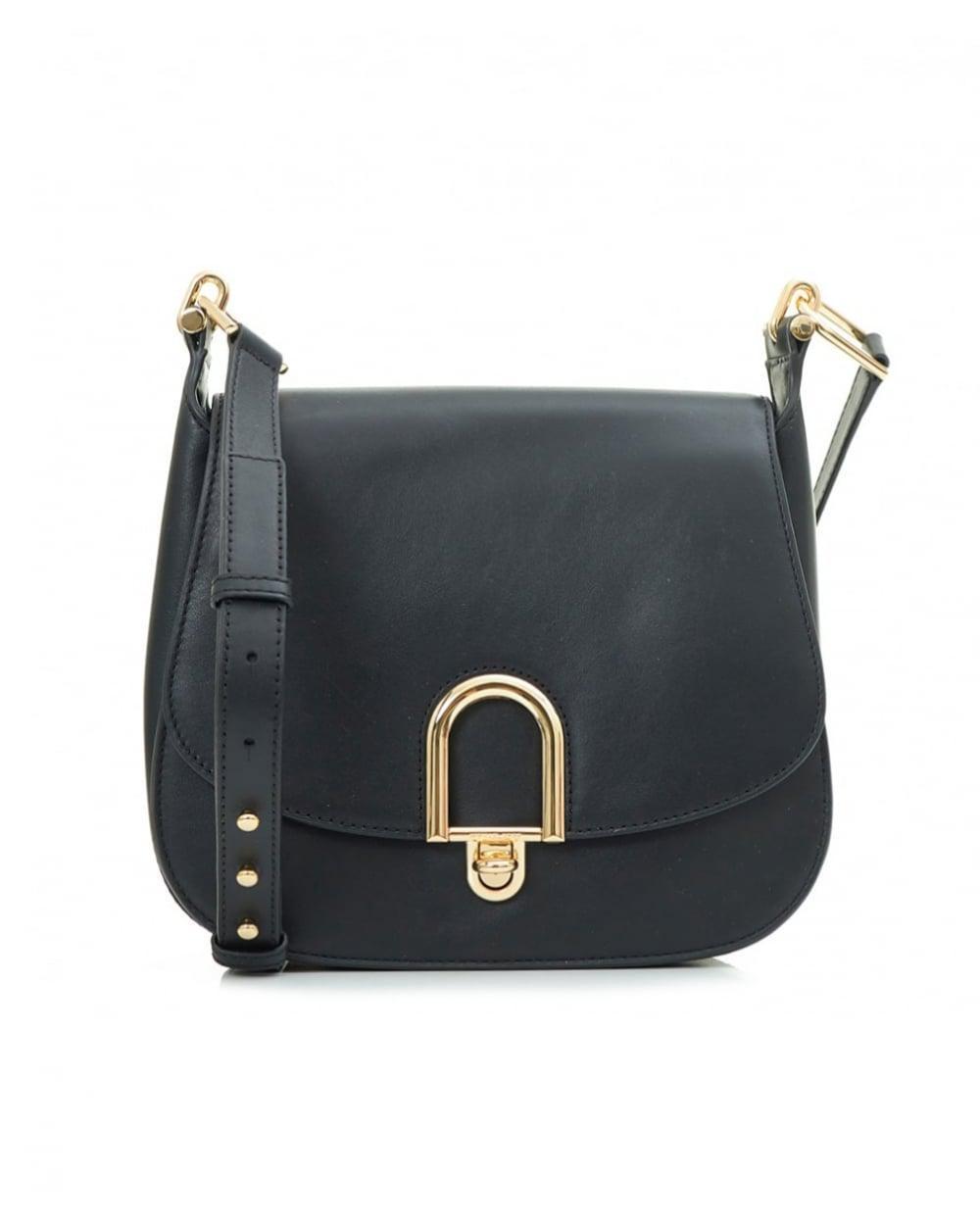 5df5632f2a80 Lyst - Michael Kors Delfina Large Leather Saddle Bag in Black