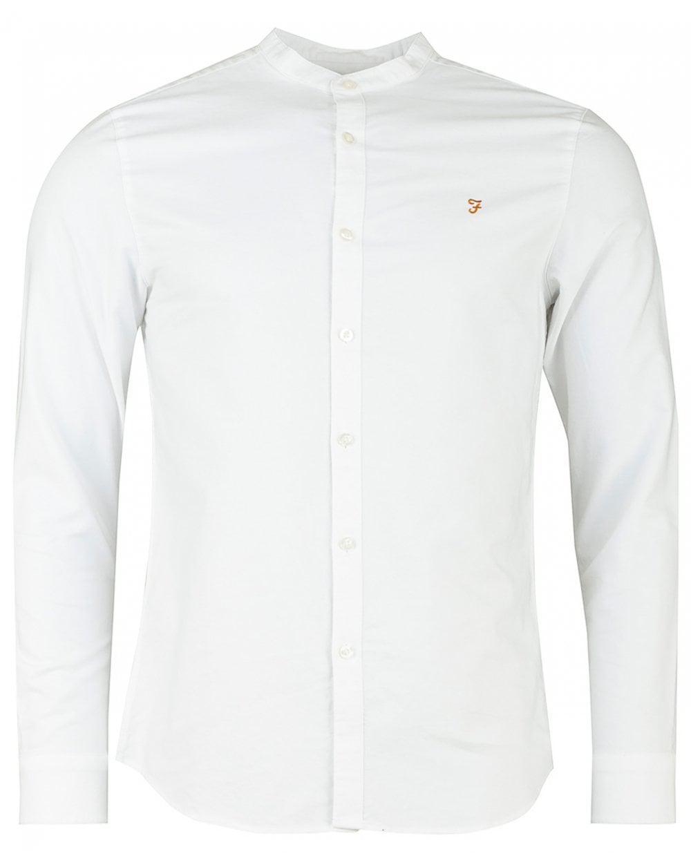 330eb503fd3 Farah Brewer Grandad Collar Slim Oxford Shirt in White for Men - Lyst
