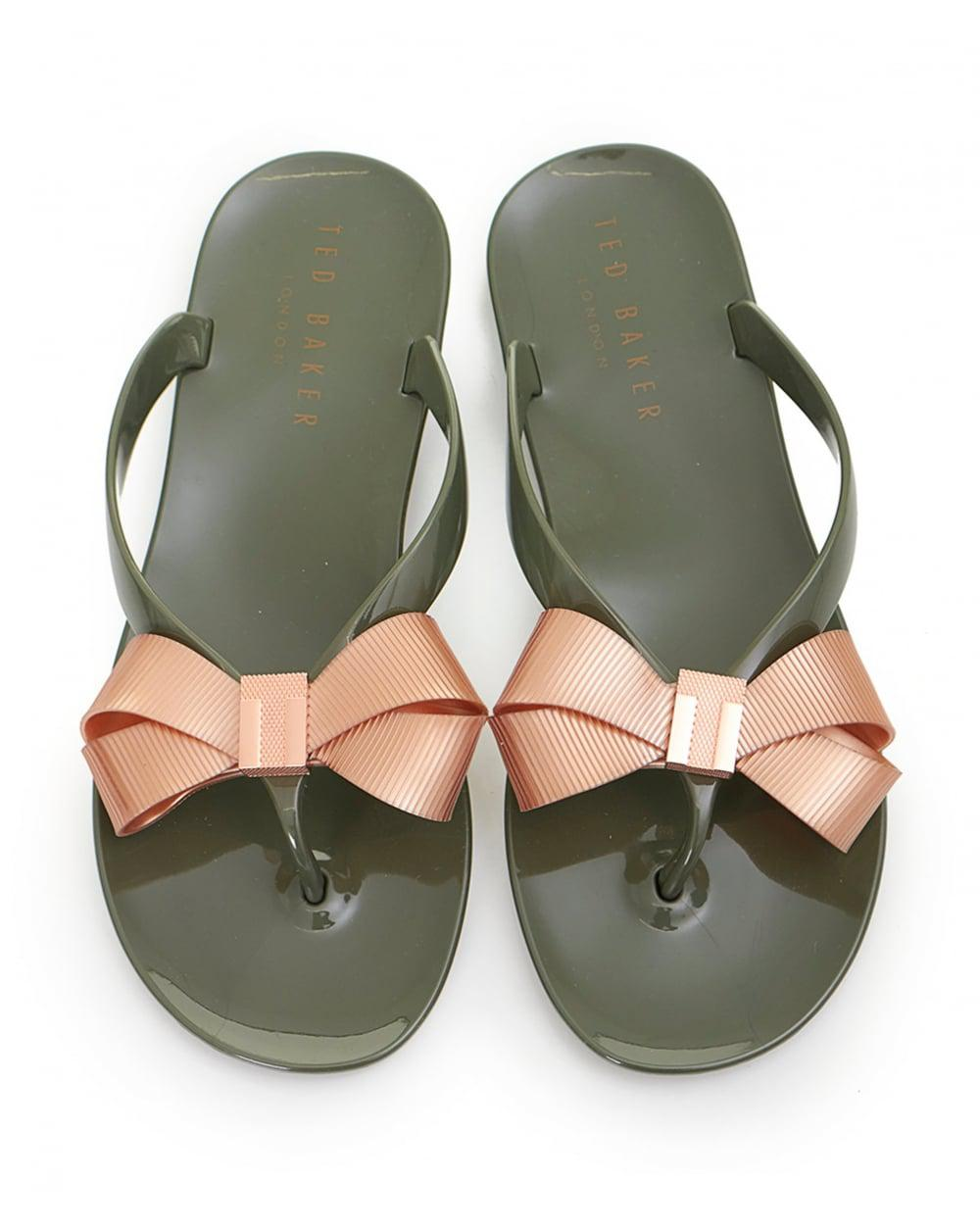 af21ff6f3 Lyst - Ted Baker Bow Front Jelly Flip Flops in Green