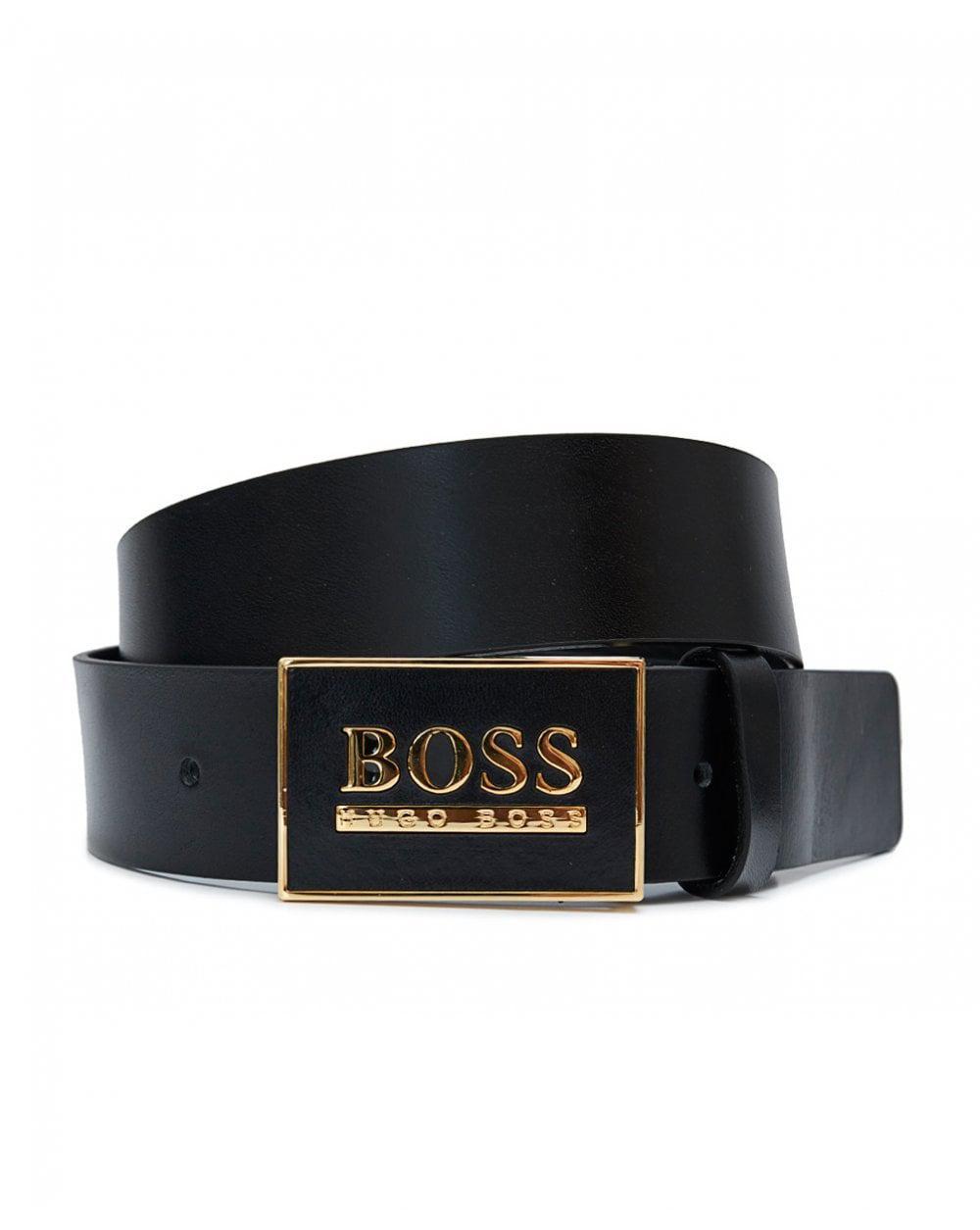 Hugo Boss Boss Icon Buckle Logo Leather Black//Silver Belt
