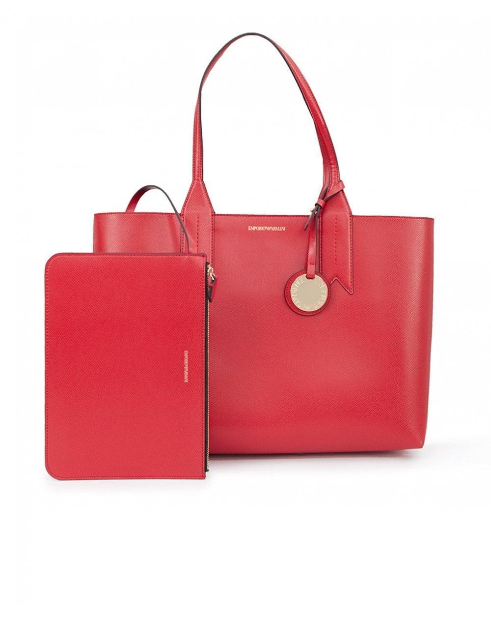 57b5e6da7b0a Emporio Armani Frida Large Eco Leather Shopper in Red - Lyst