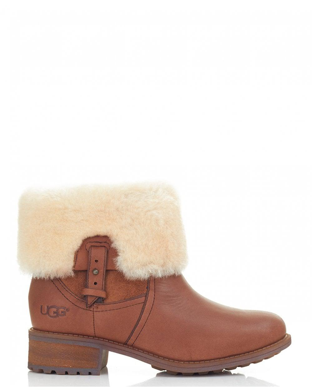48003929541 Ugg Brown Chyler Leather Fold Over Boots
