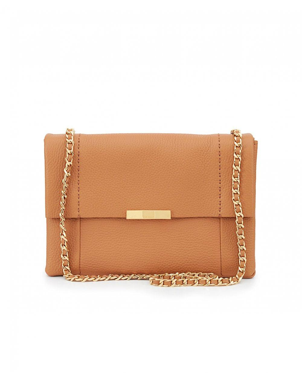 401d571e4485ae Lyst - Ted Baker Soft Leather Chain Shoulder Bag in Brown