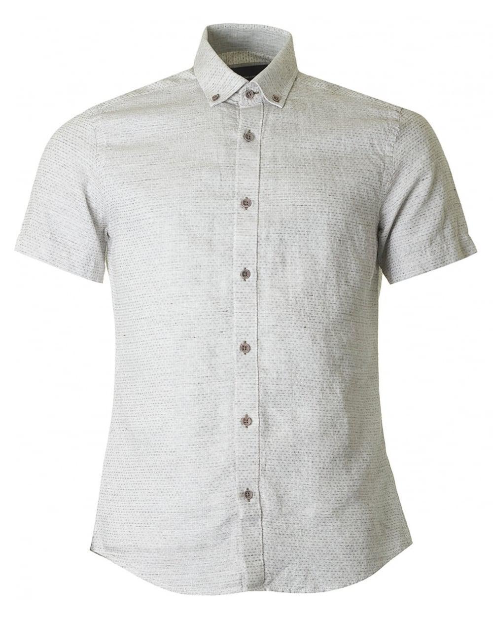 130c781ffaff Remus Uomo Textured Short Sleeved Shirt in Green for Men - Lyst