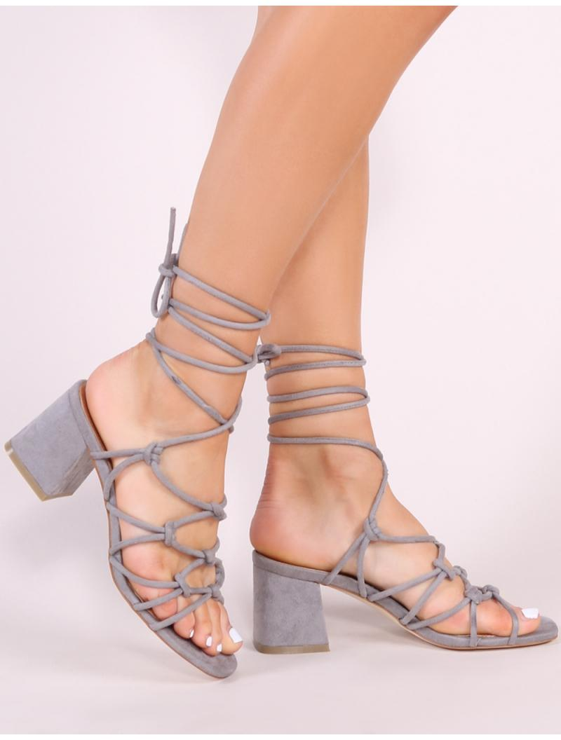 09be340e99f Public Desire. Women s Gray Freya Knotted Strappy Block Heeled Sandals In Grey  Faux Suede