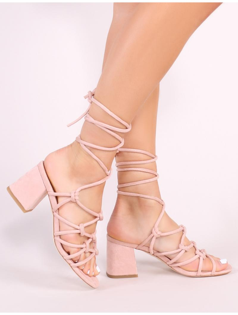 762fd2bd45a Public Desire Blue Freya Knotted Strappy Block Heeled Sandals In Blush Nude  Faux Suede