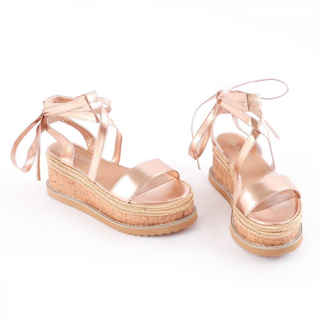 Public Desire Fresca Lace Up Sandal in Rose exA826Jyx