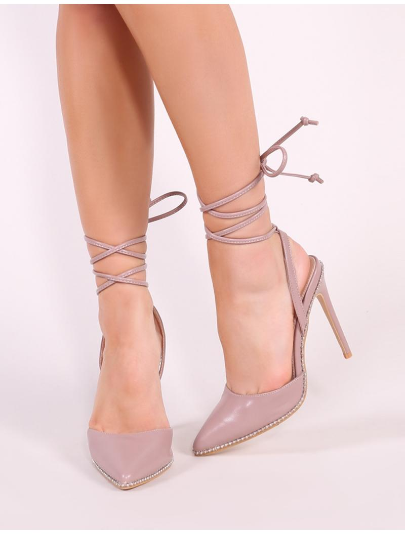8c8b1e9ae83 Lyst - Public Desire Qween Stud Lace Up Court Heels In Blush Pink in Pink