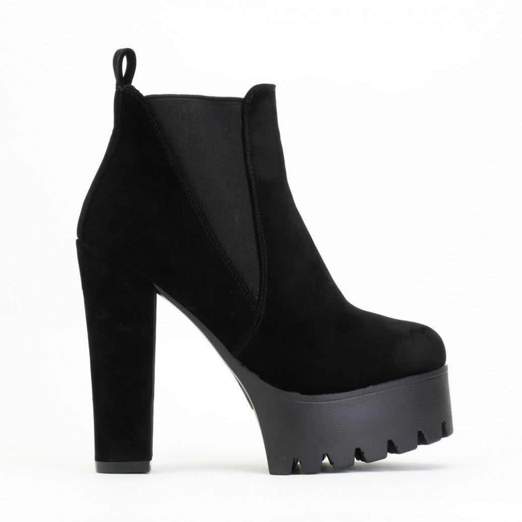 805e935b63ef Lyst - Public Desire Hallie Black Faux Suede High Heel Chelsea Boots ...