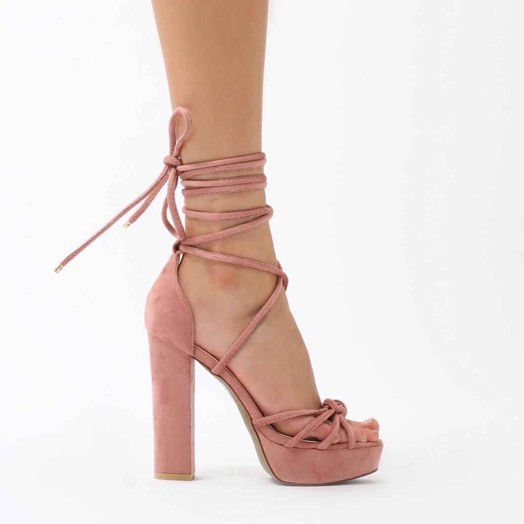 d1bd524a4df Public Desire Tassie Knotted Lace Up Platform Heels In Blush Pink Faux Suede