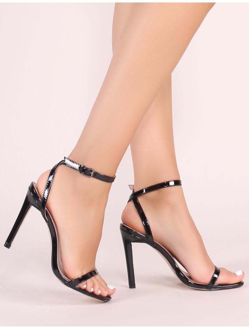 1712f6fba1a Lyst - Public Desire Notion Squared Toe Barely There Heels In Black ...