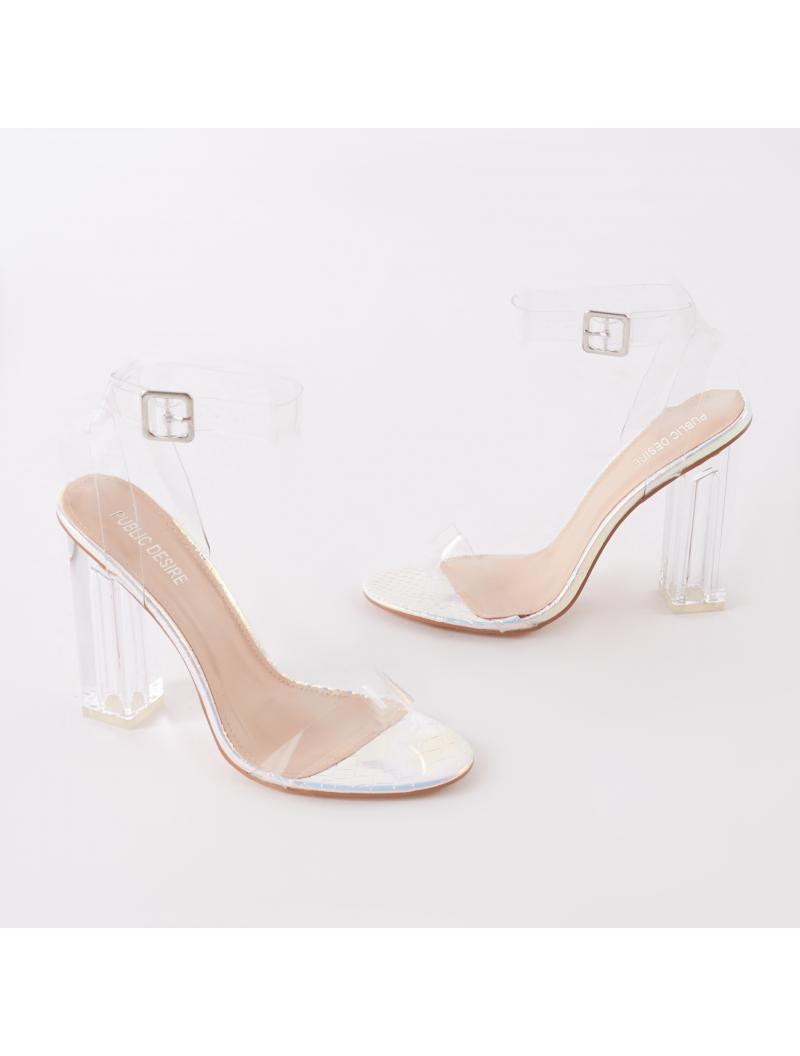 08b6fd0c08c Public Desire Multicolor Alia Strappy Perspex High Heels In Iridescent With  Clear Straps