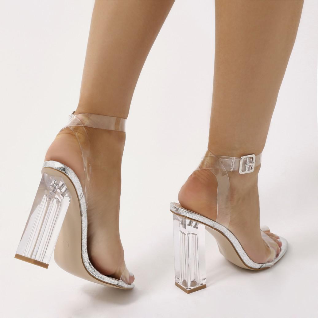 e033cfa7175 Women's Metallic Alia Strappy Perspex High Heels In Silver Crinkle