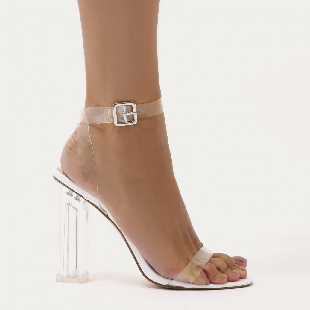 4fe200f8dab Public Desire Alia Strappy Perspex High Heels In Clear White