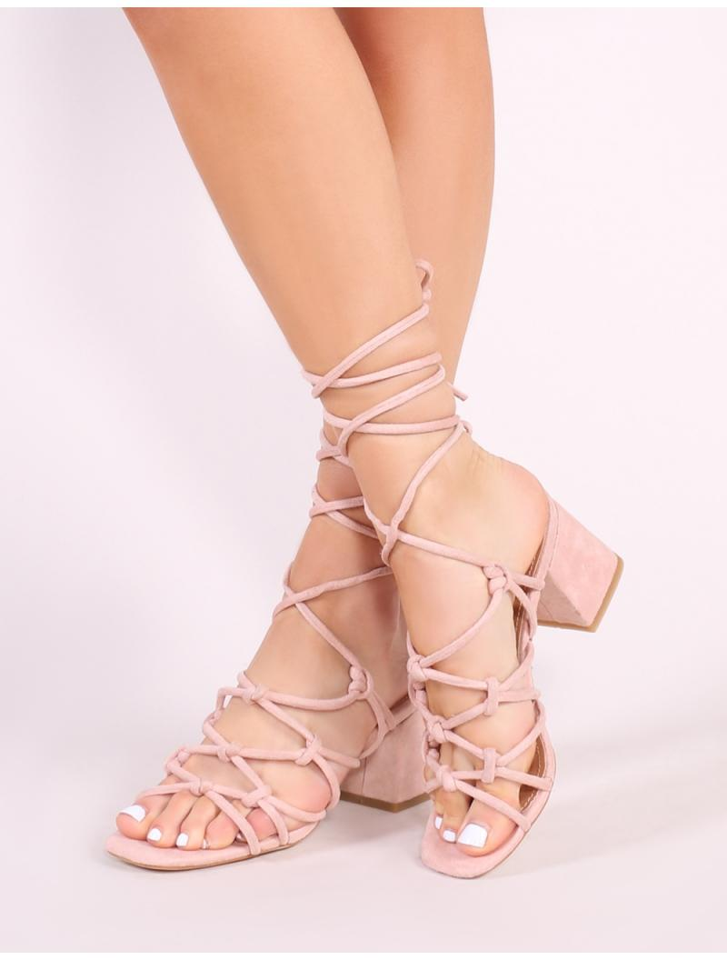 73f613e2c59 Lyst - Public Desire Freya Knotted Strappy Block Heeled Sandals In Blush  Nude Faux Suede in Blue