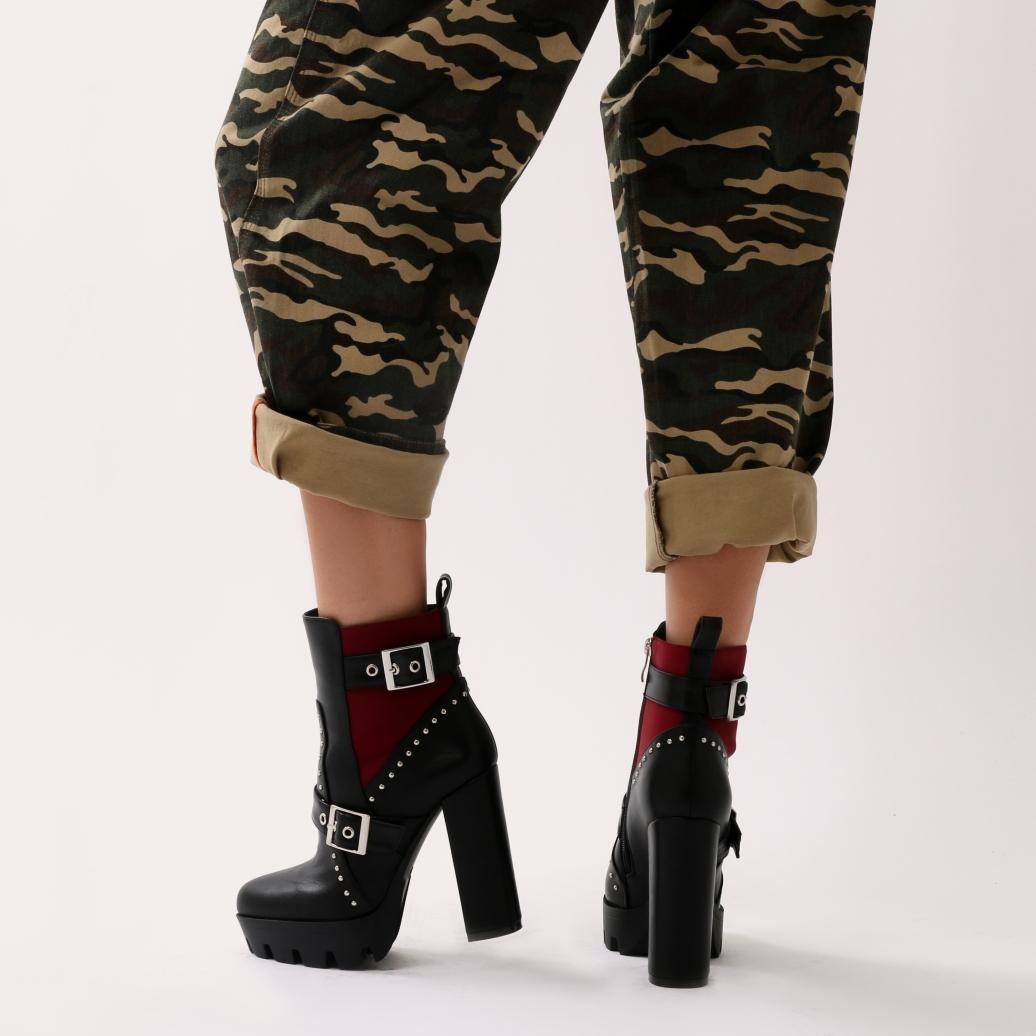 Public Desire Synthetic Maple Buckle Platform Ankle Boots In Black And Red