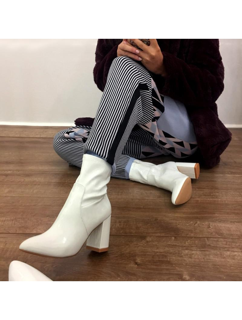 274ad91481e Public Desire Raya Pointed Toe Ankle Boots In White Patent in White ...