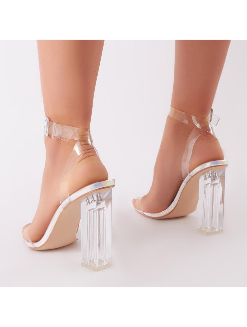 46309b52788 Public Desire Multicolor Alia Strappy Perspex High Heels In Iridescent With  Clear Straps