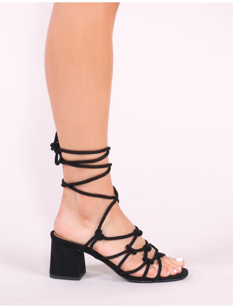 f56c703ae81314 ... Freya Knotted Strappy Block Heeled Sandals In Black Faux Suede - Lyst.  View fullscreen