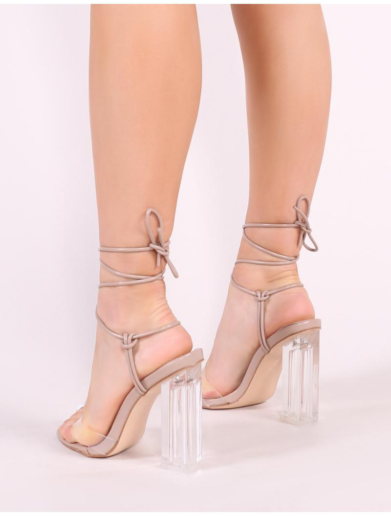 7281936e389 Public Desire Matcha Perspex Strappy Block Heel In Taupe - Lyst