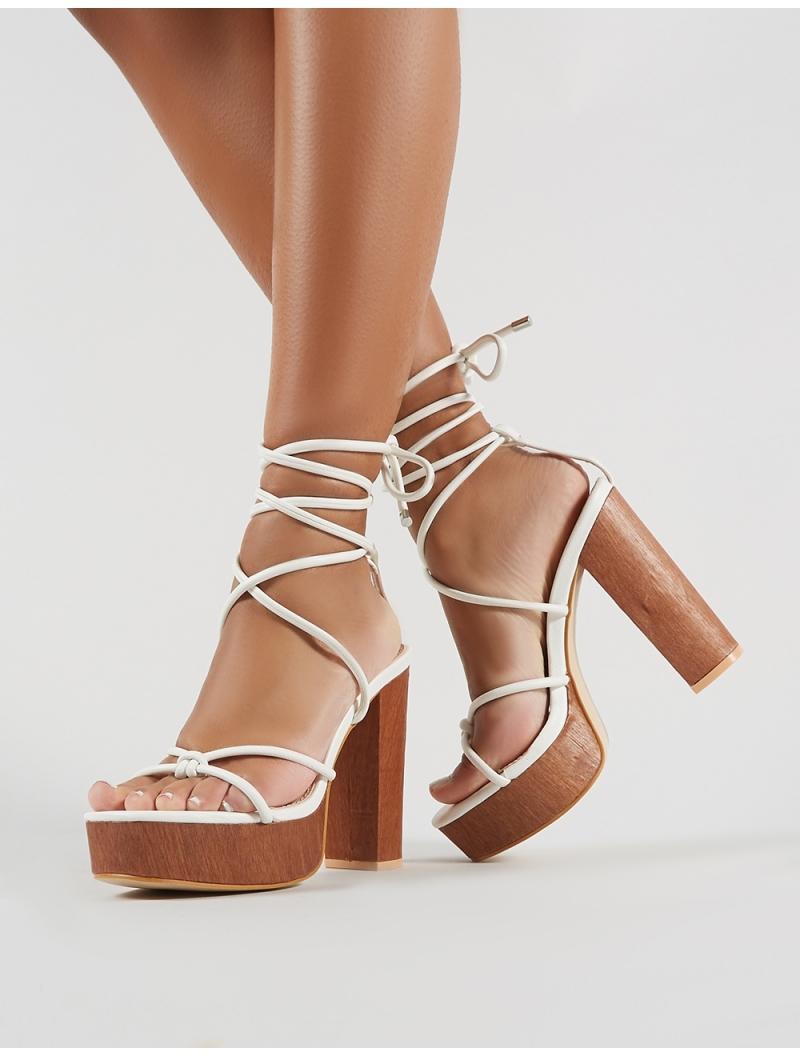 fb4f7260c11 Public Desire Strut Lace Up Block Heels In White Pu in White - Lyst