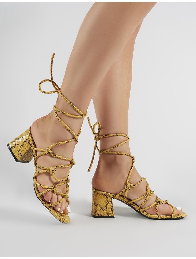 1248b87b1fe Public Desire. Women s Freya Knotted Strappy Block Heeled Sandals In  Mustard Snakeskin