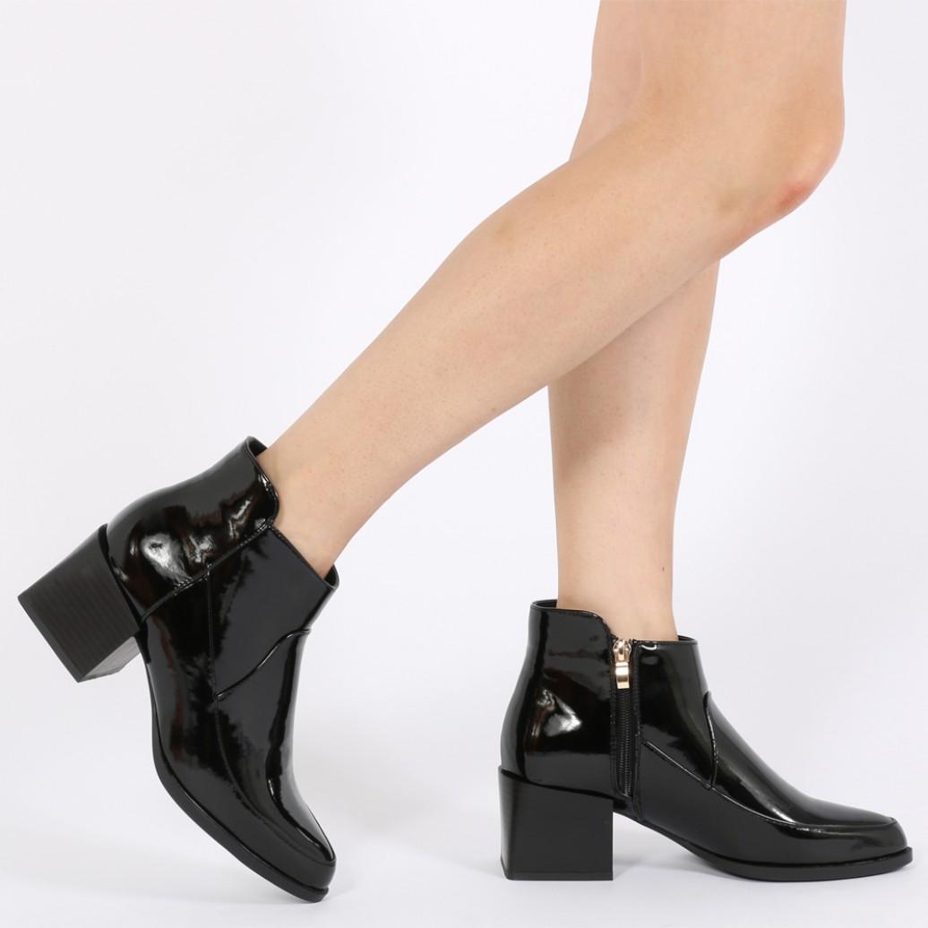 Public Desire Denim Wendy Cubed Heel Ankle Boots In Black Patent
