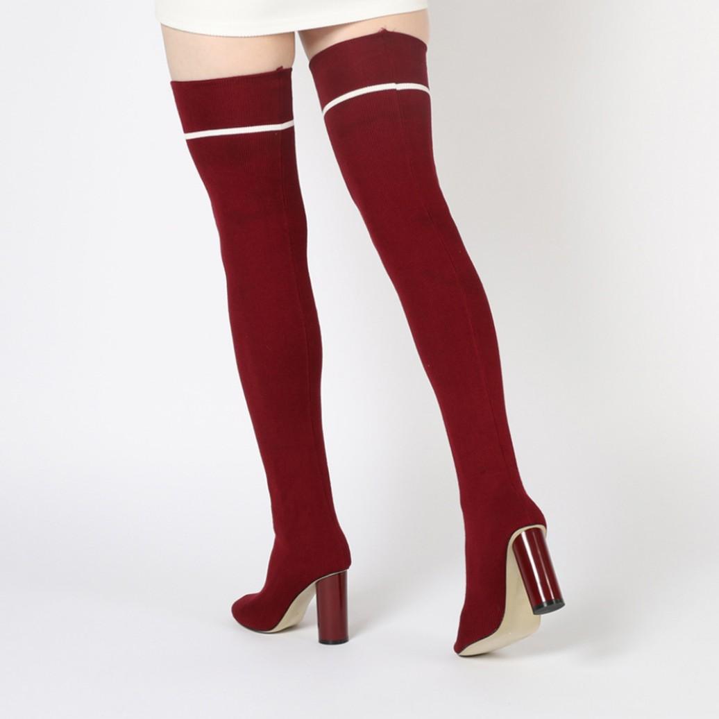 Lyst Public Desire Emmy Sock Fit Stripe Long Boots In