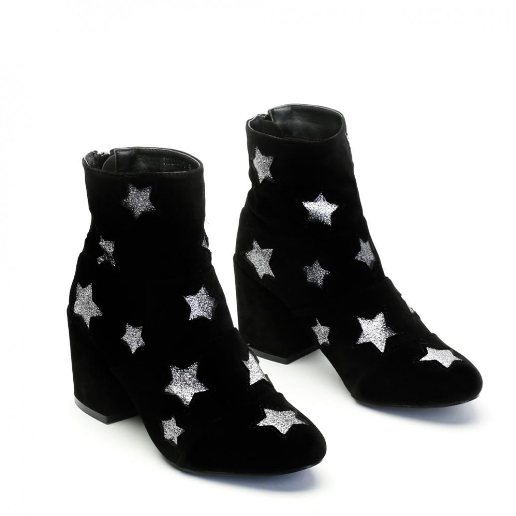 Public Desire Hellen Glitter Star Ankle Boots In Black Faux Suede