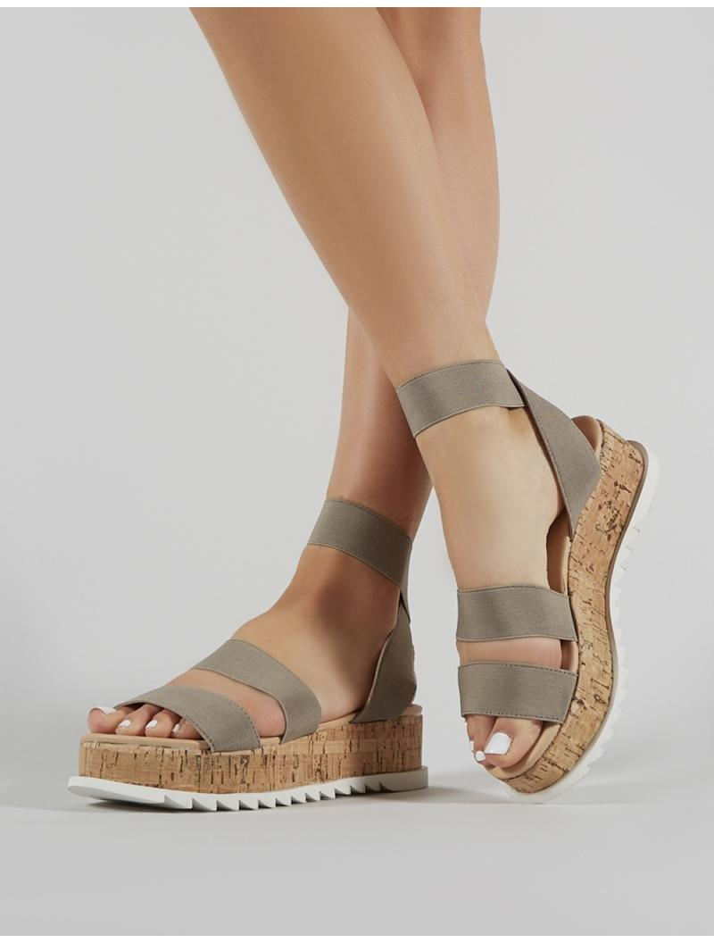d6cf42313243 Lyst - Public Desire Cassie Elasticated Strappy Flatform Sandals In Taupe  in Brown